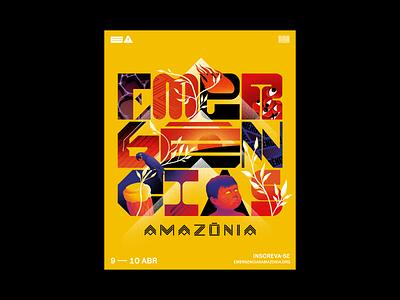 Emergências Amazônia ninja emergency fire gradient grain vector lettering type geometric animals illustration forest amazon event festival poster