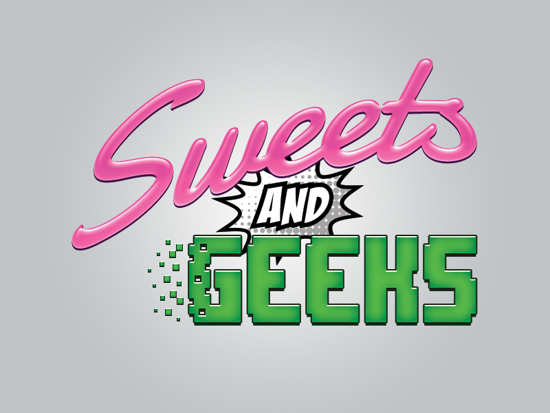 Sweets and Geeks Logo style comic pixels gamer video games shop candy sweets branding store design logo