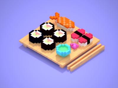 Yummy sushi voxel art