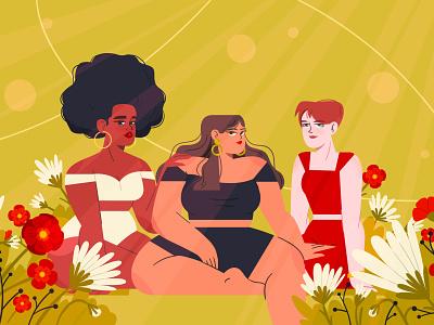 WOMEN girls flowers women characterdesign illustration