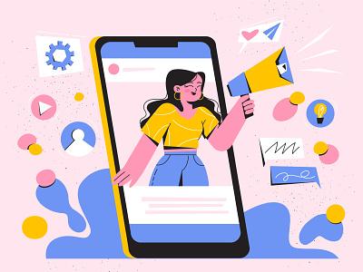 PUBLIC RELATIONS smartphone social media public relations characterdesign illustration