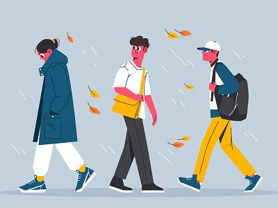 Autumn rain autumn characterdesign illustration