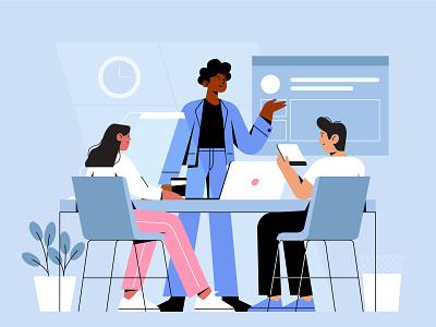 Business meeting teamwork office bussines meeting characterdesign illustration