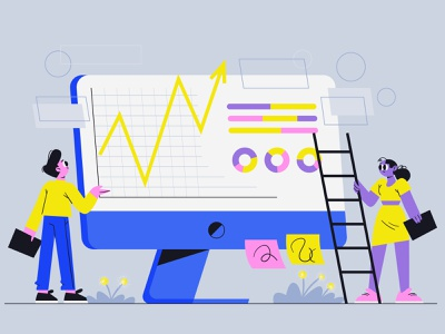 People analyzing growth charts_2 analyzing growth charts business characterdesign illustration