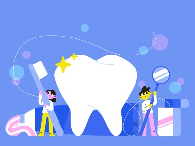 Dental care dental floos teeth tooth toothpaste toothbrush dental care characterdesign illustration