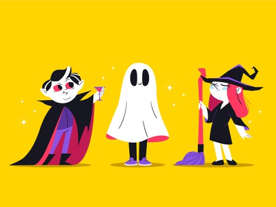 Halloween characters ghost dracula vampire witch halloween characterdesign illustration