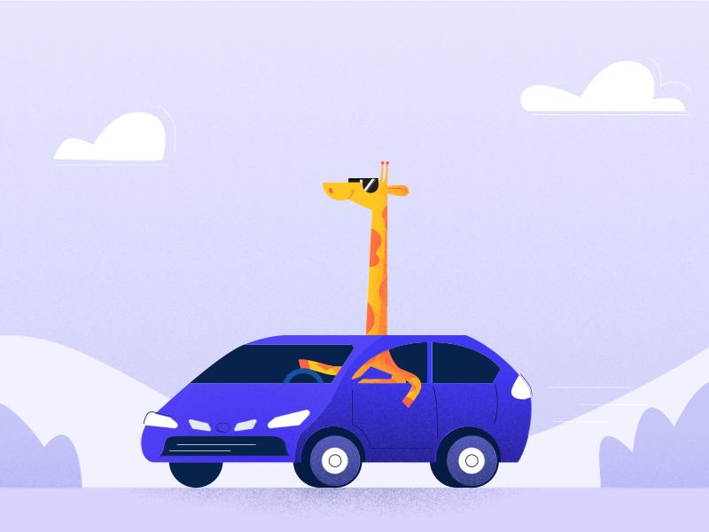 Giraffe ride giraffe car characterdesign illustration