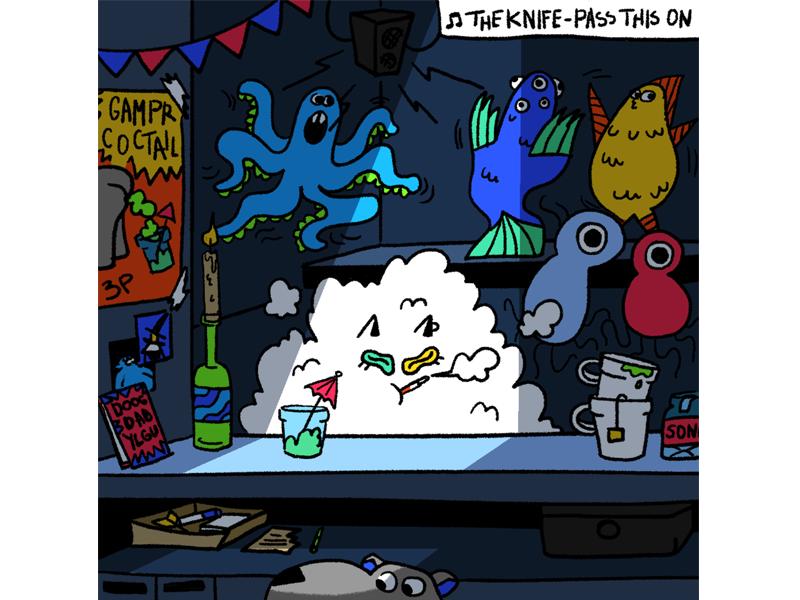 VAN CAT AND GAMPR DOG cat smoke party bar comic art comics page comics characterdesign illustration