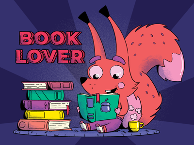 Book Lover books book lover rendy squirrel illustration