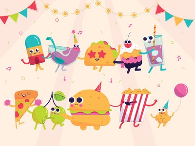 Food Party muffin pizza popcorn olives tacos icecream burger party food characterdesign illustration