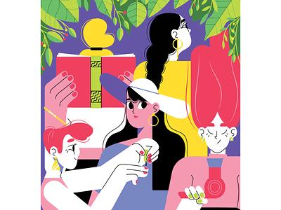 Daily women routine flat leafs woman illustration women paint color block girl power girls characterdesign illustration