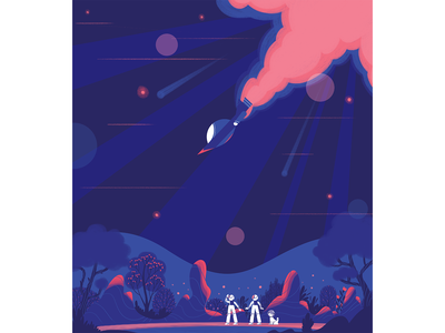 Space Illustrations astronaut colors spaceman dog spaceship forest cosmic space characterdesign illustration