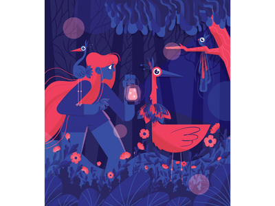 Forest light night design explore cute redhead girl flowers bushes tree lamp forest birds characterdesign illustration