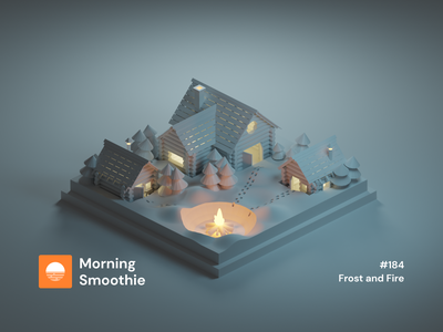 Frost and Fire fire campfire camping house cabin forest night winter nature snow 3d art low poly diorama minimal isometric illustration blender blender3d isometric 3d illustration