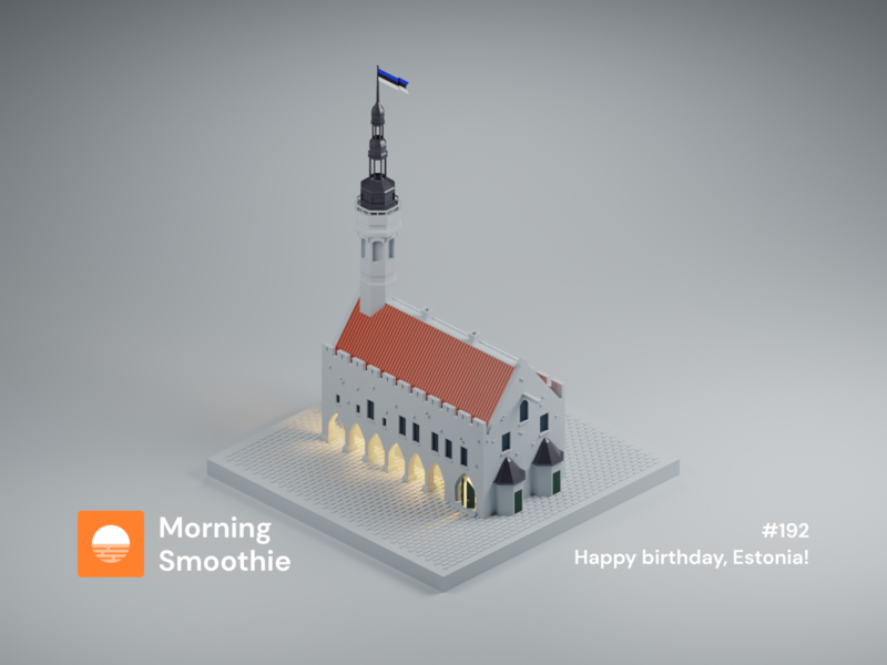 Happy birthday, Estonia! eesti estonian european baltic europe capital old town old tallinn estonia isometric design 3d art low poly diorama isometric illustration blender blender3d isometric 3d illustration