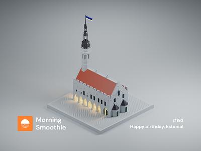 Happy birthday, Estonia! eesti estonian european baltic europe capital old town old tallinn estonia isometric design 3d art low poly diorama isometric illustration blender blender3d isometric 3d illustration