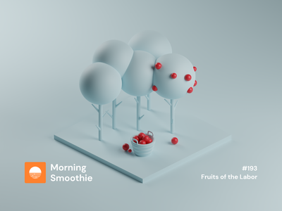 Fruits of the Labor clayrender clay forest trees apples apple nature tree minimalistic minimal isometric design 3d art low poly diorama isometric illustration blender blender3d isometric 3d illustration