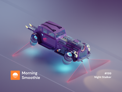 Night Stalker science fiction fantasy hovercraft dieselpunk retro car hover scifi steampunk isometric design 3d art low poly diorama isometric illustration blender blender3d isometric 3d illustration