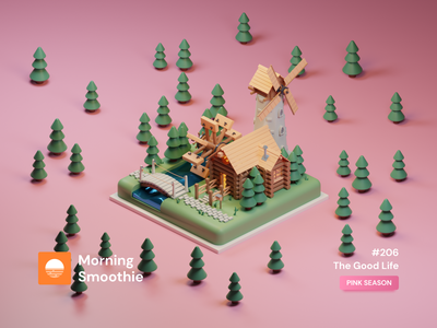 The Good Life woods wood nature house illustration pastel colorful toy clayrender river house isometric design 3d art low poly diorama isometric illustration blender blender3d isometric 3d illustration