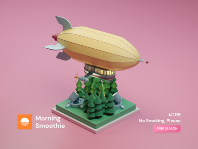No Smoking, Please projector nature forest toy pastel flying flight airship zeppelin isometric design 3d art low poly diorama isometric illustration blender blender3d isometric 3d illustration