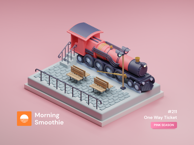 One Way Ticket steam engine steampunk locomotive rails railroad train station pastel colors pastel train minimal isometric design 3d art low poly diorama blender 3d blender3d isometric illustration isometric illustration