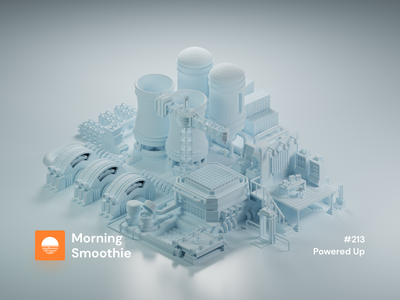 Powered Up clay render clayrender clay technical atomic nuclear electricity power station station chernobyl isometric design 3d art low poly diorama isometric illustration blender blender3d isometric 3d illustration