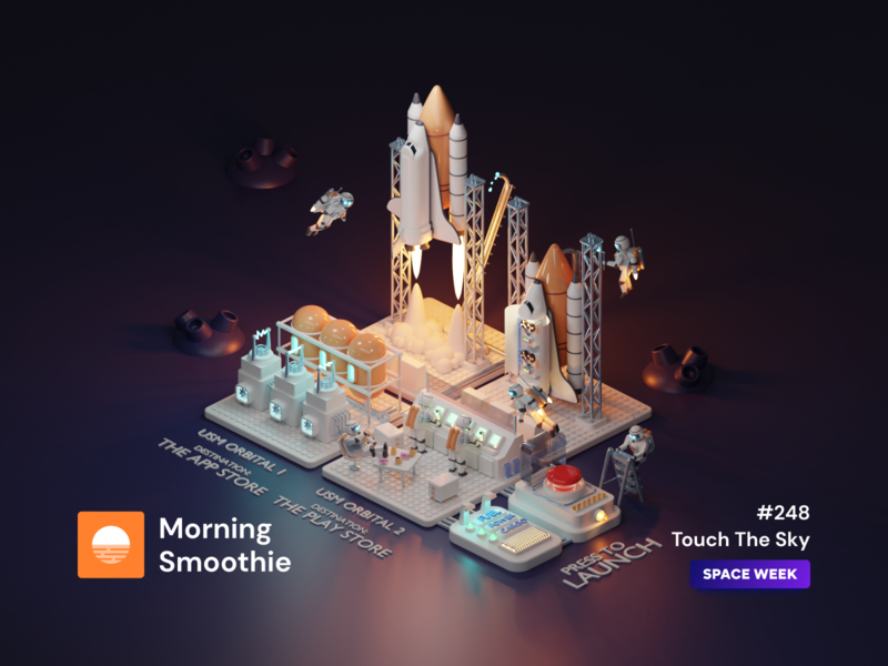 Touch The Sky application app launch rocket shuttle space landing design landing page landingpage landing isometric design 3d art low poly diorama isometric illustration blender blender3d isometric 3d illustration