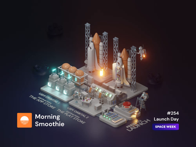 Launch Day spacex spaceman astronaut shuttle rocket launch space 3d animation animation animated isometric design 3d art low poly diorama isometric illustration blender blender3d 3d isometric illustration