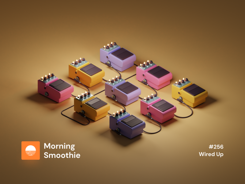 Wired Up music player music art music app musician music electric guitar guitar pedal guitar pedal isometric design 3d art low poly diorama isometric illustration blender blender3d isometric 3d illustration