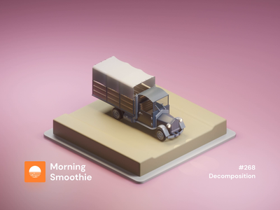 Decomposition animate animated gif animation 3d animation studio 3d animation animated isometric design 3d art low poly diorama isometric illustration blender blender3d isometric 3d illustration