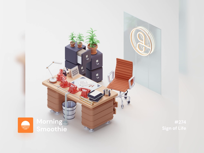 Sign of Life workstation workspace office design office space desk office animations animation design animation animated 3d animation low poly diorama isometric illustration isometric design blender blender3d isometric 3d illustration