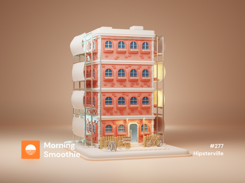 Hipsterville pastel construction apartments apartment house cute isometric design 3d art low poly diorama isometric illustration blender blender3d isometric 3d illustration