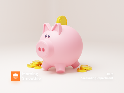Accounting Department currency coin checkout cash money bookkeeping accounting piggy bank piggybank piggy animation 3d art low poly diorama isometric illustration blender blender3d isometric 3d illustration