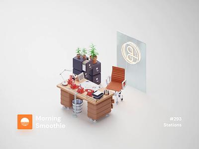 Stations scandinavian minimal clean workspaces workspace workstation office tools office space office animation animated 3d animation isometric design 3d art isometric illustration blender blender3d isometric 3d illustration