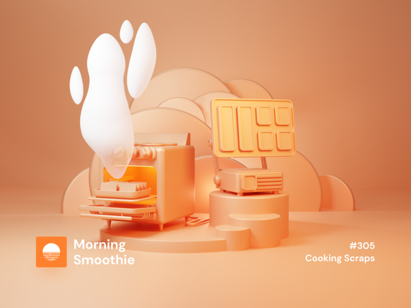 Cooking Scraps cooking app baking mac computer kitchen cooking ovenbits pc oven 3d animation isometric design 3d art low poly diorama isometric illustration blender blender3d isometric 3d illustration