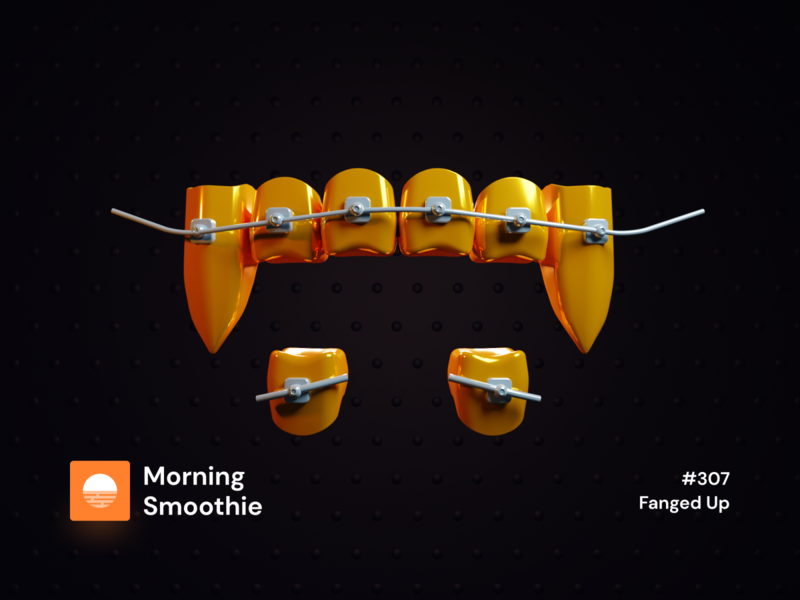 Fanged Up dental tooth gold textures gold foil gold texture gold teeth fang grillz fangs isometric design 3d art low poly diorama isometric illustration blender blender3d isometric 3d illustration