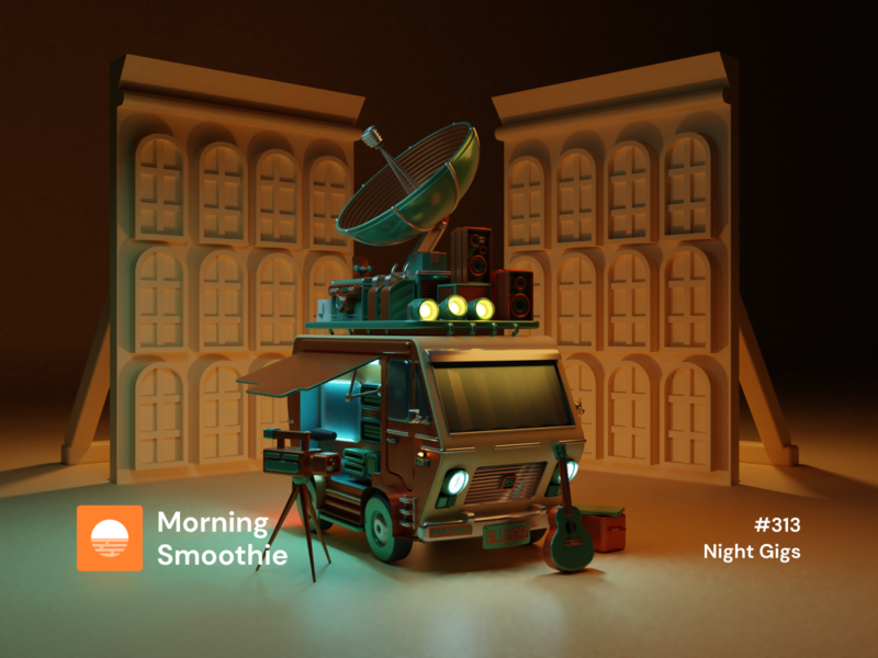 Night Gigs bus neon contrast night folk musician vanlife van bluegrass 3d animation isometric design 3d art low poly diorama blender blender3d isometric 3d isometric illustration illustration