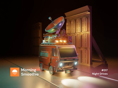Night Drives music app musician music bluegrass gig bus animation design animations animation animated isometric design 3d art low poly diorama isometric illustration blender blender3d isometric 3d illustration