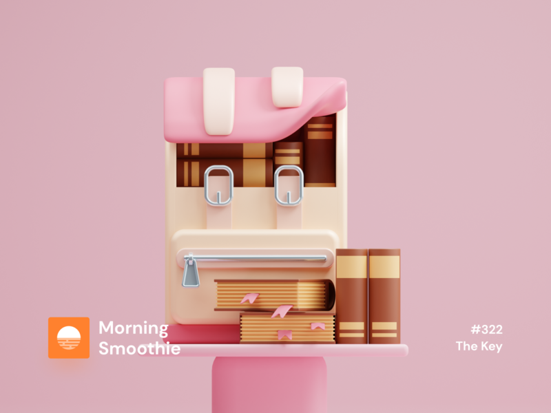 The Key bookstore pastel pink icon pack icon design iconography icon backpack book books isometric design 3d art low poly diorama isometric illustration blender blender3d isometric 3d illustration