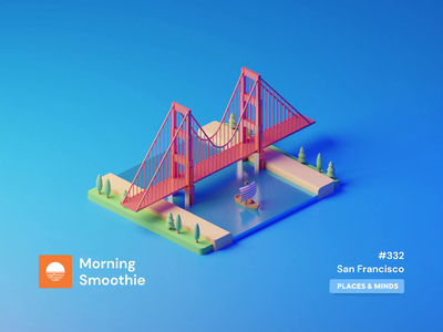San Francisco iconography icon golden gate golden gate bridge city sanfran sf sanfrancisco animated animation isometric design 3d art low poly diorama isometric illustration blender blender3d isometric 3d illustration