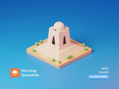 Karachi tomb 3d animation animated animation pakistani city pakistan karachi isometric design 3d art low poly diorama isometric illustration blender blender3d isometric 3d illustration