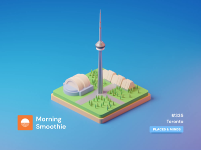 Toronto toronto raptors cn tower 3d animation animated animation city branding city illustration cityscape city toronto isometric design 3d art low poly diorama isometric illustration blender blender3d isometric 3d illustration