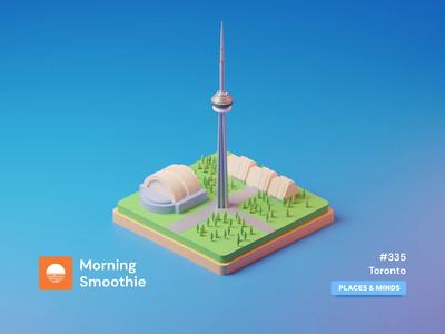 Toronto toronto raptors cn tower 3d animation animated animation city branding city illustration cityscape city toronto isometric design 3d art low poly diorama isometric illustration blender blender3d isometric 3d illustration