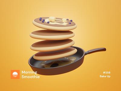 Bake Up breakfast club breakfast pancakes pancake foodie food illustration food isometric design 3d art low poly diorama isometric illustration blender blender3d isometric 3d illustration