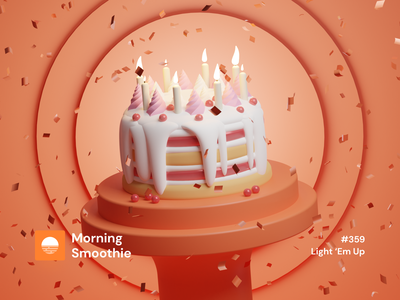 Light 'Em Up cake shop cakes party birthday party birthday cake birthday bakery baking cake isometric design 3d art low poly diorama isometric illustration blender blender3d isometric 3d illustration