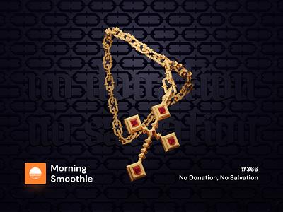 No Donation, No Salvation bracelet chain jewelery salvation donation cross jewellery jewelry jewels jewel isometric design 3d art low poly diorama isometric illustration blender blender3d isometric 3d illustration