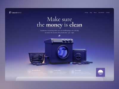 Laundromat Landing Page product user interface ui design uidesign ui fiction fictional b3d blender3d 3d financial app finance app fintech finances finance laundromat home home page design landing page landing page design