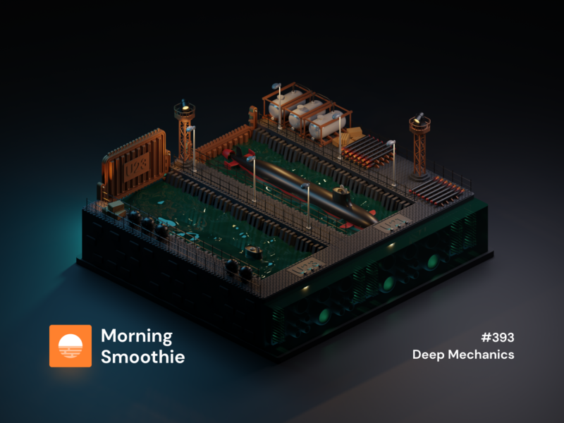 Deep Mechanics torpedo marines portal marine life port submarine ocean sea marine night isometric design 3d art low poly diorama isometric illustration isometric blender blender3d 3d illustration