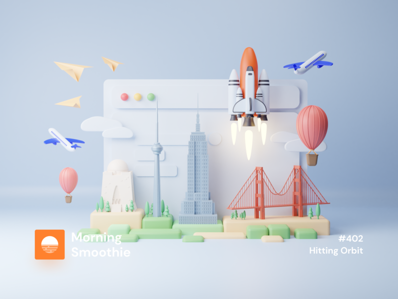 Hitting Orbit city branding city illustration cityscape city air balloon spacex space shuttle shuttle paper plane plane isometric design 3d art low poly diorama isometric illustration isometric blender 3d blender3d illustration
