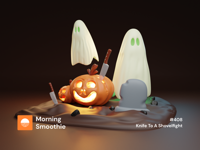 Knife To A Shovelfight grave pumpkins pumpkin jackolantern spooky graveyard halloween flyer halloween design halloween ghost isometric design 3d art low poly diorama isometric illustration isometric blender blender3d 3d illustration